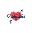 valentines day vintage heart logo on white vector image vector image