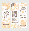 vintage nuts food vertical banners vector image vector image
