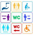 wc sign for restroom color set vector image