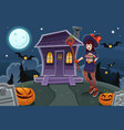 witch standing in front of house vector image