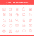 Set of Thin Line Stroke Document Icons vector image