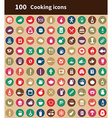 100 cooking icons vector image vector image
