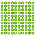 100 settings icons hexagon green vector image vector image