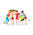 athlete set man woman skiing boxing vector image vector image