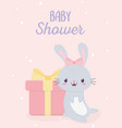 bashower cute bunny and gift box greeting card vector image