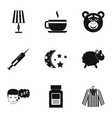 bed time rest icon set simple style vector image vector image