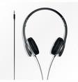 big earphones black vector image vector image