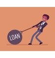 Businessman dragging a weight Loan on chain vector image vector image