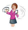 businesswoman with a smartphone and pen vector image