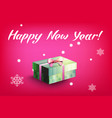 card with gift box and letting happy new year vector image vector image