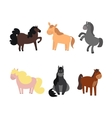 Cartoon Funny and Cute Horses or Pony Set vector image vector image