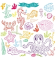 Cartoon Funny Fish Sea Life Doodle linear se vector image vector image