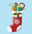 christmas sock stocking vector image