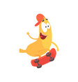 cute happy banana riding on skateboard cartoon vector image vector image