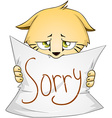 Cute Kitten Holds Sign Of Apology vector image