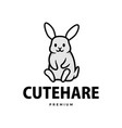 cute rabbit hare bunny cartoon logo icon vector image