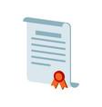 diploma scroll certificate symbol flat isometric vector image