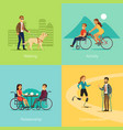 disabled people square concept vector image