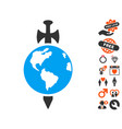 earth guard icon with lovely bonus vector image vector image