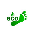 ecology organic green footprint sign on a white vector image vector image
