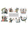 everyday hobactivity cartoon people characters vector image vector image