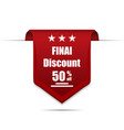 final discount 50 off label vector image vector image