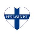 flag of finland in heart shape scandinavian vector image