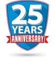 Flat design 25 years anniversary label with red vector image vector image
