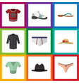 flat icon clothes set of t-shirt panama sneakers vector image vector image