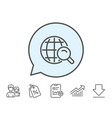 global search line icon world sign vector image vector image