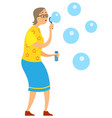 grandmother making bubble-blowers blowing vector image vector image