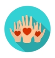 Hands up with hearts icon in flat style isolated vector image vector image