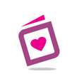 heart with book icon or logo design vector image