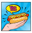 hot dog in woman hand with yes chat bubble vector image vector image