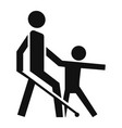kid guide blind man icon simple style vector image