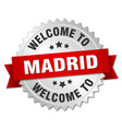 madrid 3d silver badge with red ribbon vector image vector image