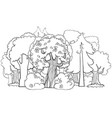 mixed forest cartoon coloring book page vector image