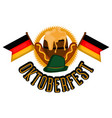 oktoberfest label with a pair of flags of germany vector image vector image