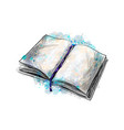 open book from a splash watercolor hand drawn vector image