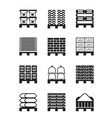 pallets with different building materials vector image vector image
