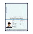 passport with biometric data identification vector image