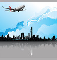 plane flying over city vector image vector image