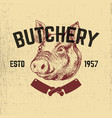 pork butchery hand drawn pig head on grunge vector image vector image
