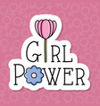 power girl card with rose flower decoration vector image