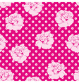 Seamless pink roses and white dots pattern vector image vector image