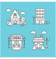 set of city buildings house cafe cinema vector image vector image