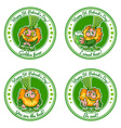 Set of four round stickers with leprechauns for St vector image vector image