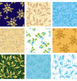 set of various seamless patterns with flora vector image vector image