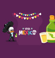 skeleton with bottle and shot tequila celebration vector image