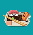 sushi fun character in bath sauce vector image